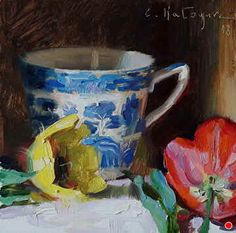 Vintage Blue and Tulips by Elena Katsyura, Oil, x Tea Cup Art, Upcoming Events, New Artists, Teacups, Artsy Fartsy, Tulips, It Works, Oil, Crafts