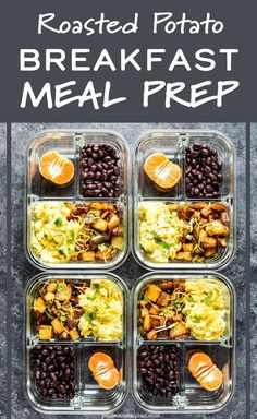 These Southwest Roasted Potato Breakfast Meal Prep bowls are full of smoky roasted potatoes and peppers, seasoned black beans, and two scrambled eggs! Meal prep and reheat - simple! - ProjectMealPlan.com #mealprep #mealprepbreakfast #onthegobreakfast #breakfastpotatoes