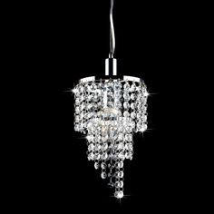 Two mini chandeliers over island- Galina Crystal and Chrome Pendant Chandelier | Overstock.com