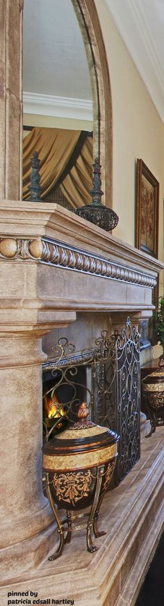 Mediterranean/Tuscan/Old World Decor Tuscan Design, Tuscan Style, Home Decor Items, Diy Home Decor, Room Decor, Home Fireplace, Fireplace Ideas, Fireplace Design, Fireplace Mantels