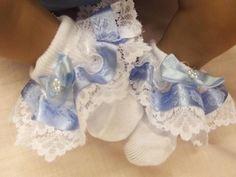 "Dream Newborn Baby Blue Embroiered Bow Frilly Socks 17 19"" Reborn Dolls | eBay"