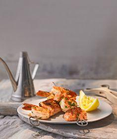 Scampi-Lachsspieß mit Paprika
