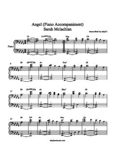 Aldy Sheet Music Angel Piano Accompaniment Sarah Mclachlan