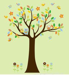 Tree Wall Decal with Owls Birds Flowers   by StickEmUpWallArt, $125.00