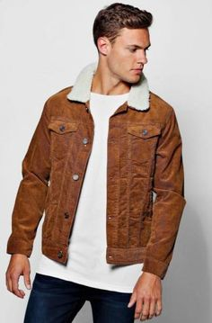 £24 Boohoo Mens Borg Collar 4 Pocket Cord Jacket