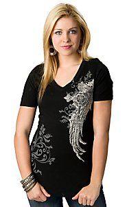 R. Rouge® Women's Black Winged Crosses Short Sleeve V-Neck Tee