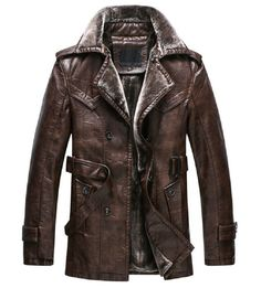 New Winter Thicken Men's Leather Faux Fur Warm Jackets Parka Coats Belt Overcoat Men's Leather Jacket, Leather Men, Jacket Men, Leather Coats, Leather Jackets, Stylish Men, Men Casual, Revival Clothing, Parka Coat