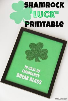 When you're in need of some luck, there's always some available nearby with this cute, free shamrock printable for St. Patrick's Day! {BitznGiggles.com}