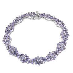 Tanzanite (Mrq) Bracelet in Platinum Overlay Sterling Silver Nickel Free (7.50 In) TGW 13.680 cts.