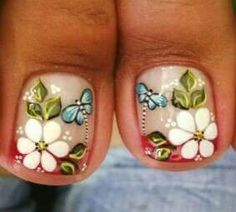 Aisha                                                                                                                                                                                 Más Pedicure Designs, Pedicure Nail Art, Toe Nail Designs, Nail Polish Designs, Toe Nail Art, Cute Nails, Pretty Nails, Hair And Nails, My Nails