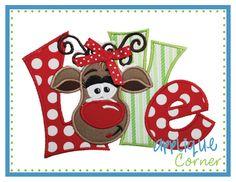 love quirky reindeer girl applique design - Christmas Applique Designs