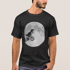 Dinosaur on a Bike In Sky With Moon T-Shirt - tap, personalize, buy right now!