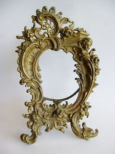 Gilded Cast Bronze Rococo Victorian Cherubs Picture Frame France