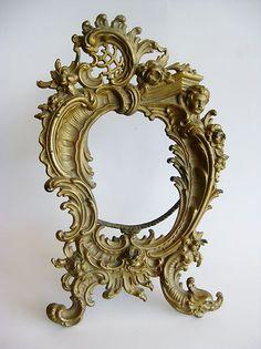 Gilded Cast Bronze Rococo Victorian Cherubs Picture Frame France