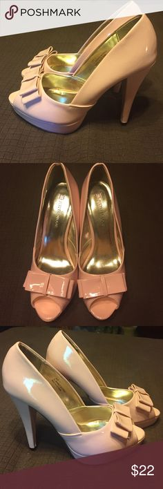 "Justfab heels Brand new-never worn pastel pink heels with cute bow. 4.5"" heel with 1"" platform JustFab Shoes Heels"