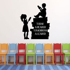 Today a Reader Tomorrow a Leader Quote Wall Decal with Girl and Boy Reading Books Silhouette for School Classroom, Library, Bedroom, Playroom, or Homeschool Study Area Cheap Wall Stickers, Vinyl Wall Decals, Girl Reading Book, Reading Nook, Book Silhouette, Leader Quotes, School Quotes, School Classroom, Wall Quotes