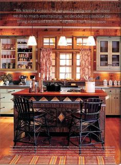 Rustic Log House Kitchen by Carter Daley Designs - Interiors:  Project Featured in Country Living Magazine