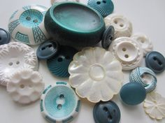 Vintage Buttons  Cottage chic mix of  green and by pillowtalkswf, $7.95