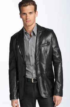 Versace Collection Studded Lambskin Leather Blazer media gallery on Coolspotters. See photos, videos, and links of Versace Collection Studded Lambskin Leather Blazer. Mens Leather Blazer, Best Mens Leather Jackets, Long Leather Coat, Men's Leather, Older Mens Fashion, Men's Fashion, Types Of Jackets, Jacket Types, Collarless Jacket