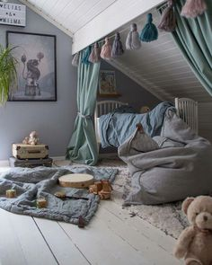 How to Create a Stylish Kids Room in Da . - How to create a stylish nursery in the da … – the - Attic Bedroom Small, Attic Bedroom Designs, Attic Playroom, Attic Rooms, Kids Bedroom, Attic Office, Attic Bathroom, Modern Playroom, Attic Renovation