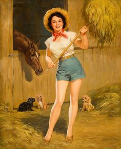 Farm Girl Pin-Up. my favorite place to be. missing it a bit. Pin Up Vintage, Vintage Cowgirl, Vintage Art, Pinup Art, Pin Up Girls, Modelos Pin Up, Moda Retro, Estilo Pin Up, Horse Posters