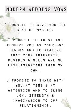 Save this for your wedding day because we have the sweetest and simplest modern wedding day vows you'll want to steal for your own wedding!