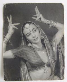 Vtg 1940's Balinese Dancer Karla Margot India Costume Jewelry Portrait B&W Photo