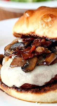 Grilled Marsala Burger with Mushrooms, Bacon, and Provolone Cheese ~ 1 lb. ground chuck...2 T. onion, finely chopped...1 clove garlic, minced...salt & pepper to taste...1-2 dashes Worchestershire sauce - TOPPING - 4 slices bacon or pancetta, chopped..