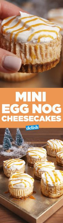 These Mini Eggnog Cheesecakes have the most brilliant crust hack you'll ever see. Get the recipe from Delish.com.