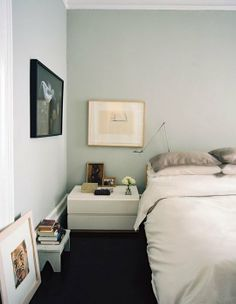 Seafoam-Grey with beige. Paint Color Portfolio: Pale Gray Bedrooms | Apartment Therapy