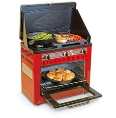 """Chef Outdoor Camp Oven with Grill - Propane Camp Chef. Best ratings for this type of gear. Nice for """"car camping"""". Best ratings for this type of gear. Nice for """"car camping"""". Auto Camping, Camping Snacks, Camping Glamping, Camping Stove, Camping Survival, Camping Life, Outdoor Camping, Backpacking Gear, Survival Gear"""