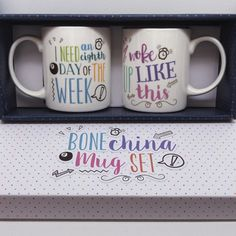 Bone China Mug Gift Sets with Slogans including 'I need an eighth day of the week' and 'I woke up like this' #mug #giftset #slogan #giftideas