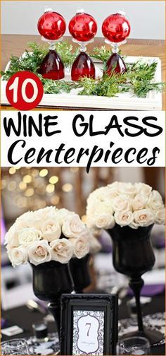 10 Wine Glass Centerpieces.  Christmas Centerpieces, Wedding Centerpieces and…