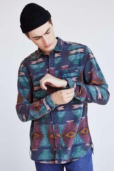 9c5579db02 Stapleford Printed Flannel Button-Down Shirt Bohemian Style Men