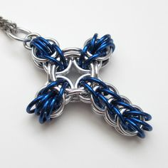 Blue full Persian chainmaille cross pendant.
