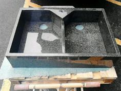 Hand Made, Double Butler Sink in Nero Impala Granite.