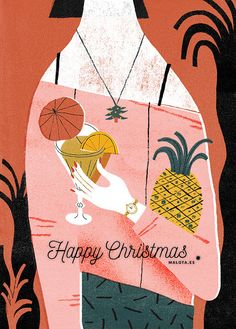 I don't know what you think about but I would love to be in a tropical country with a cocktail. Merry Christmas everyone and that 2016 comes full of good things. Cocktail Illustration, People Illustration, Graphic Design Illustration, Summer Christmas, Merry Christmas Everyone, Postcard Design, Amazing Drawings, Christmas Illustration, Illustrations And Posters