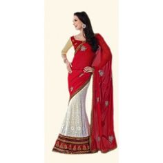 Shop Now - http://www.valehri.com/red-white-georgette-designer-partywear-saree-with-blouse-602