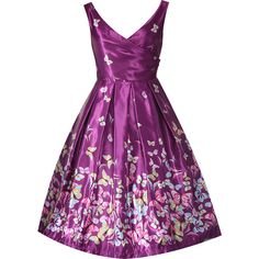 'Aurora' Purple Butterfly Border Occasion Dress ($82) ❤ liked on Polyvore featuring dresses, purple, purple dress, v neck cocktail dress, v-neck dresses, purple skater skirt and purple cocktail dress