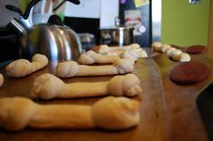 Pillsbury breadsticks, knotted on end, to look like bones. Great for Halloween, or a Puppy dog themed party