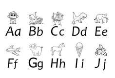 Her kan du laste ned gratis bokstavark, som barnet kan fargelegge og lære bokstaver med.