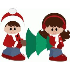 Silhouette Design Store - View Design #52571: boy and girl carrying christmas tree