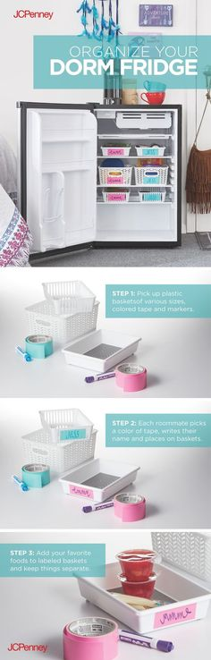 College dorm organization - Organize your dorm fridge in 3 easy steps Keep thing separate in your dorm fridge with simple organizing tips Find these ideas and items at JCPenney! College Dorm Organization, Organization Hacks, Organizing Tips, Fridge Organization, Dorm Life, College Life, College Grants, College Ready, College House