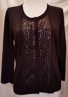 Merona Sweater Sequin Cardigan Womens Sz M Black  medium #Merona #Cardigan #Casual