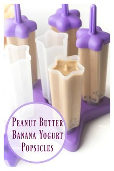 Peanut Butter Banana Yogurt Popsicles These pack tons of vitamins, minerals, fib. - Popsicles, Sorbets, and Frozen Treats - Yogurt Frozen Yogurt Popsicles, Banana Popsicles, Healthy Popsicles, Baby Popsicles, Yoghurt Lollies, Watermelon Popsicles, Smoothie Popsicles, Smoothies, Frozen Desserts