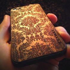 Bolivian Rosewood BackBoard, iPhone Skin with Damask Engraving