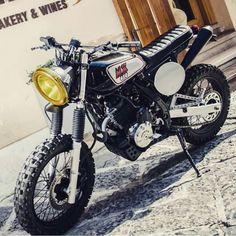 Honda by Rino Scala of Italy's In love! Honda Dominator, Honda Scrambler, Scrambler Custom, Cafe Racer Motorcycle, Motorcycle Helmets, Custom Motorcycles, Custom Bikes, Cafe Racer Helmet, Cafe Racer Girl