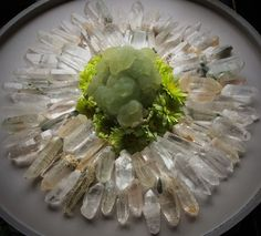 Phrenite, Himalayan Quartz and Daisies Crystal Grid by Woodlights Woudlicht