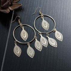 """New Fashion Copper Filigree Stamping Earrings Ear Wire Hooks Round Gold Plated Leaf Hollow 98mm(3 7/8"""") x 43mm(1 6/8""""), 1 Pair"""