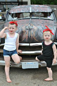 Pin-up photo shoot , girls, rat rod too cute! Omg I have to do this with my girls!